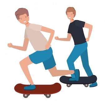 Uomini con il personaggio di avatar di skateboard