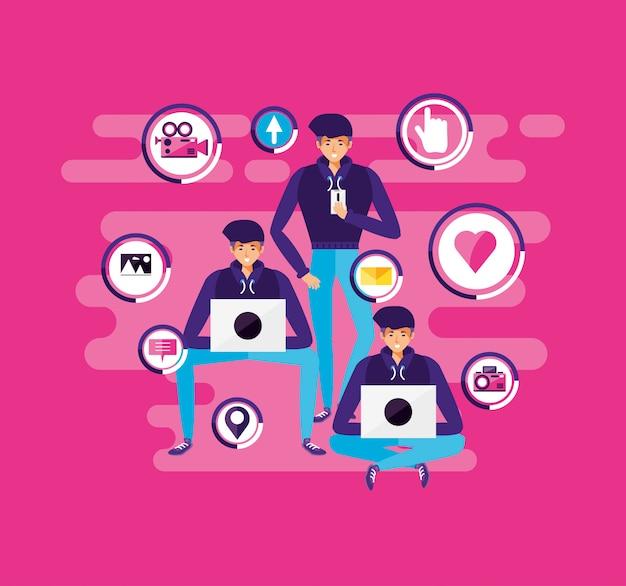 Uomini con laptop e icone social media