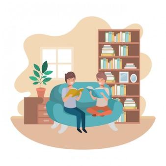 Uomini con libro in salotto avatar personaggio