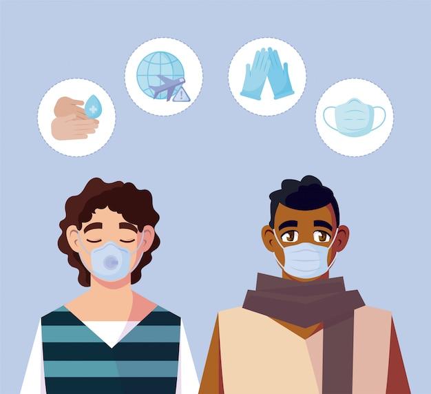 Uomini con maschere mediche e set di icone