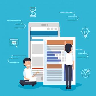 Uomini con tecnologia smartphone e informazioni sui documenti