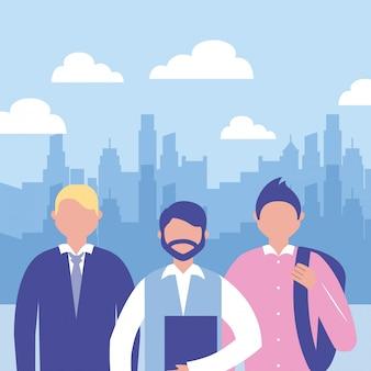 Uomini d'affari all'aperto