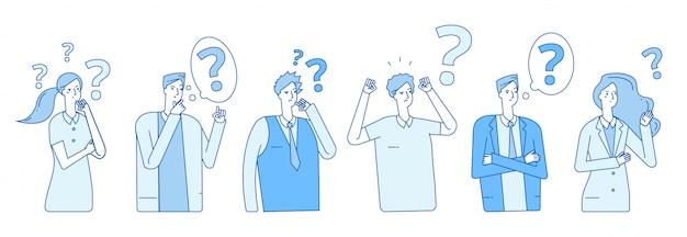 Uomini d'affari alla ricerca di soluzione. le persone con problemi di isteria sono terrorizzati dallo stress emotivo. le persone pensano con il concetto di punti interrogativi