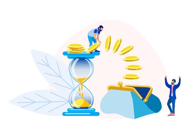 Uomini d'affari che apprezzano il tempo e guadagnare denaro