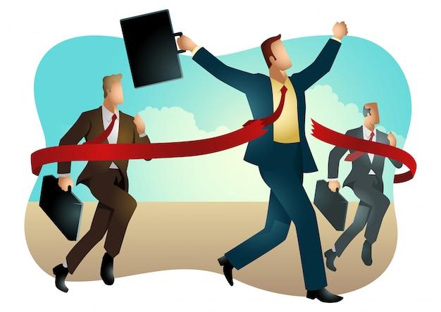 Uomini d'affari che attraversano il traguardo