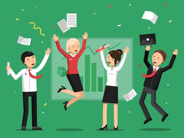 Uomini d'affari che celebrano il successo dal grande affare