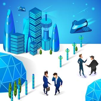 Uomini d'affari che comunicano in smart city futuristica