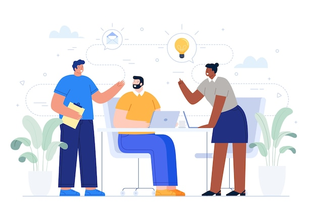 Uomini d'affari che condividono idee
