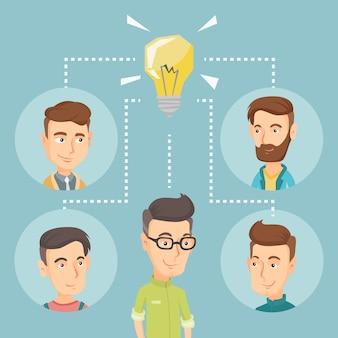 Uomini d'affari che discutono di idee imprenditoriali.