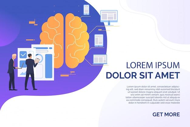 Uomini d'affari che lavorano, cervello, grafico e gadget testo di esempio