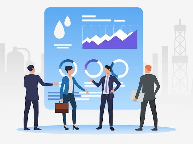 Uomini d'affari che lavorano e discutono questioni, grafici di dati