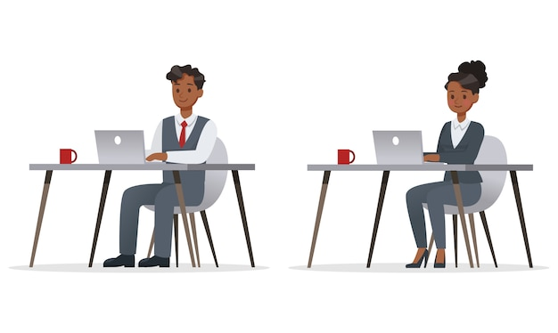 Uomini d'affari che lavorano in ufficio carattere