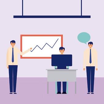 Uomini d'affari che lavorano in ufficio, elementi come grafici, computer e fumetto in giro