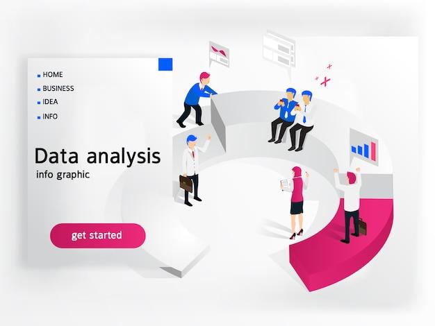 Uomini d'affari che lavorano per l'analisi dei dati