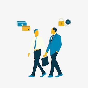 Uomini d'affari che parlano di sicurezza bancaria online