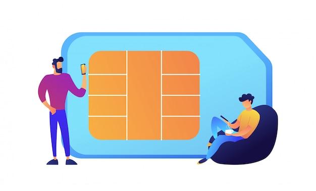 Uomini d'affari che per mezzo dei telefoni cellulari e dell'illustrazione enorme di vettore della carta sim.