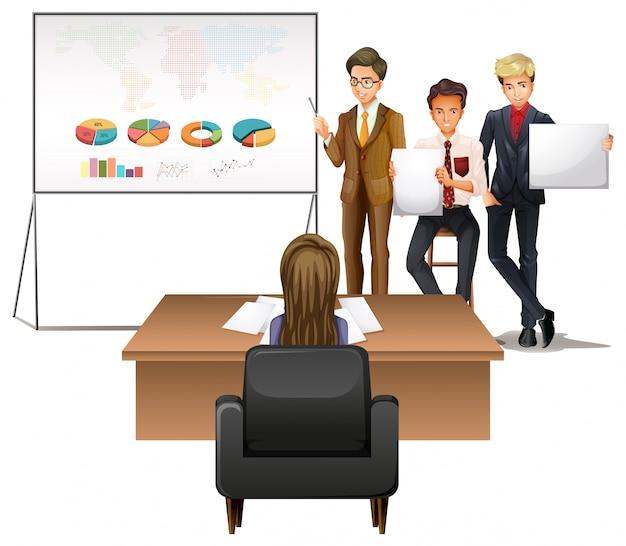 Uomini d'affari che presentano con grafici