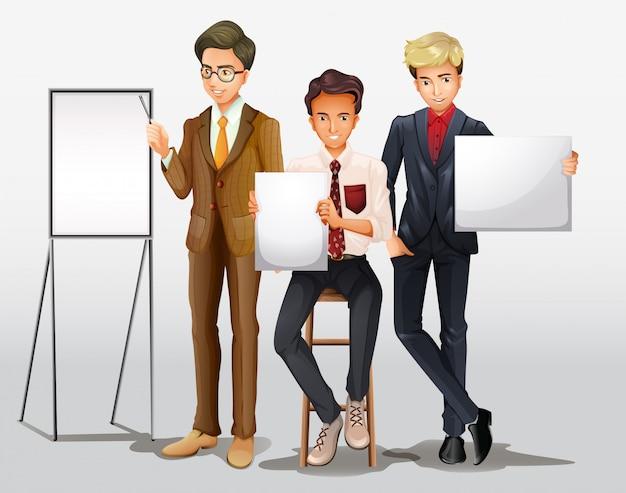 Uomini d'affari che presentano con segni