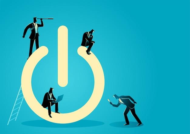 Uomini d'affari che svolgono attività intorno al simbolo del pulsante di accensione