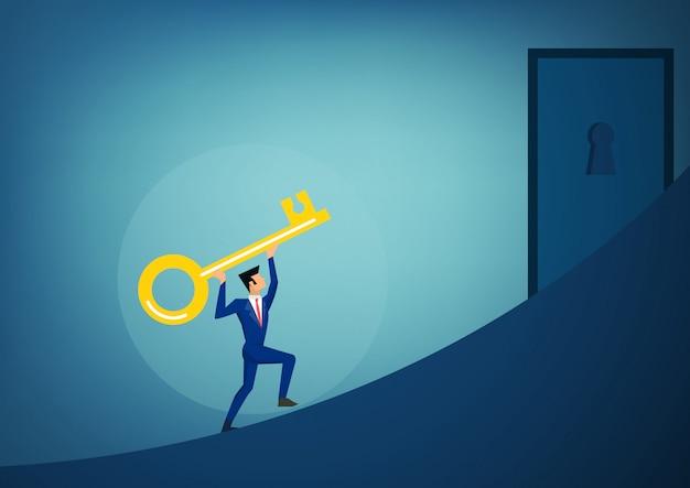 Uomini d'affari che tengono la chiave del successo avanzando per aprire il buco della serratura futuro luminoso.