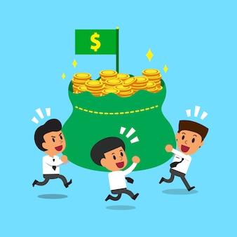 Uomini d'affari che trasportano sacco di soldi