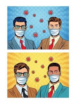 Uomini d'affari che usano maschera facciale e covid19 particelle stile pop art