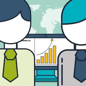 Uomini d'affari computer statistica grafico marketing digitale