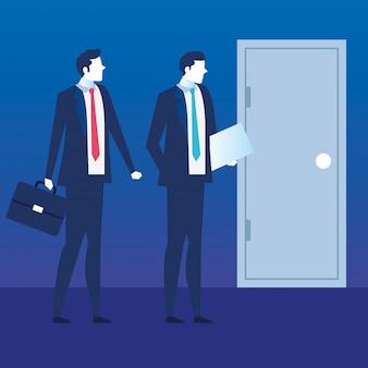 Uomini d'affari con curriculum vitae e valigia alla ricerca di lavoro