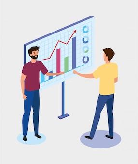 Uomini d'affari con icone grafiche statistiche