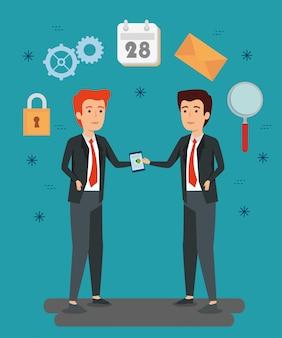 Uomini d'affari con informazioni sui documenti e calendario