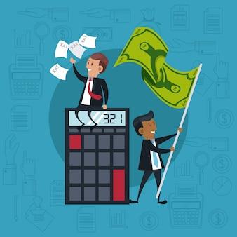 Uomini d'affari con la calcolatrice e bandiera dei soldi