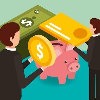 Uomini d'affari con la carta di credito della moneta
