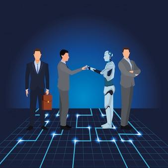 Uomini d'affari con robot umanoide