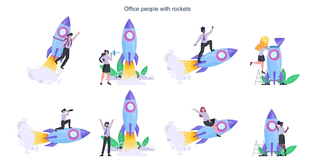 Uomini d'affari con un razzo. lancio di un razzo come metafora