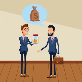Uomini d'affari con valigetta