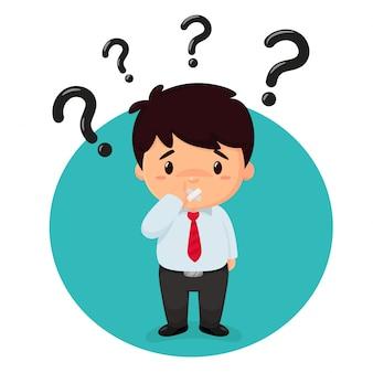 Uomini d'affari dei cartoni animati sono curiosi con molti punti interrogativi sulla testa.