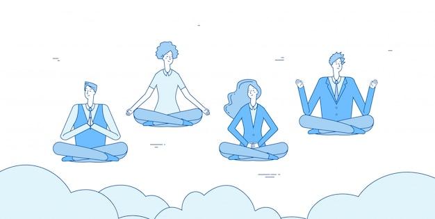Uomini d'affari di meditazione. la gente si rilassa nel posizionamento del loto di yoga di zen in ufficio. i dipendenti evitano il concetto di stress
