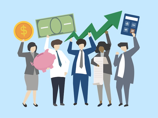 Uomini d'affari e banchieri con illustrazione di denaro