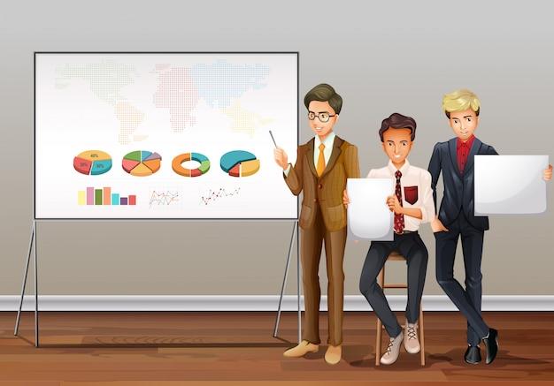 Uomini d'affari e grafici di presentazione