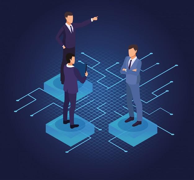 Uomini d'affari e tecnologia isometrici