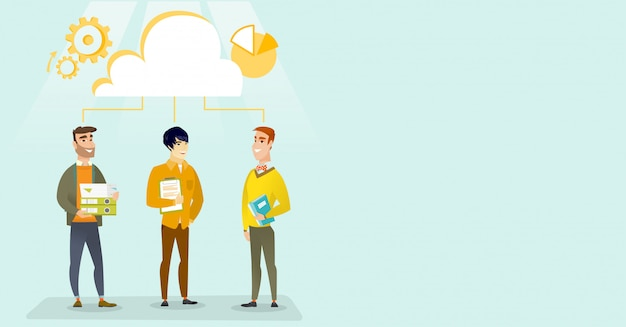 Uomini d'affari e tecnologie di cloud computing.