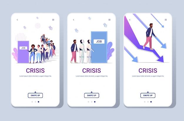 Uomini d'affari frustrati per il grafico verso il basso lavoro occupazione crisi finanziaria concetto di dominazione robotica schermi del telefono raccolta mobile app spazio orizzontale copia spazio integrale