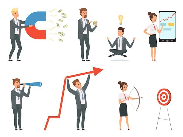 Uomini d'affari. gestori maschi e femmine con strumenti che fanno affari sui personaggi dei loro spazi di lavoro in situazioni di lavoro