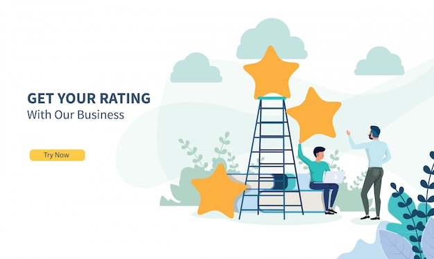 Uomini d'affari in cerca di rating con design piatto e landing page