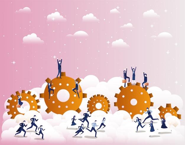 Uomini d'affari in competizione con gli ingranaggi