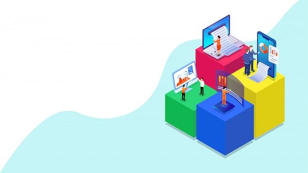 Uomini d'affari in miniatura 3d analizzano i dati con dispositivi digitali.