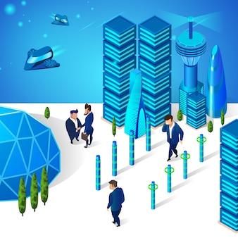 Uomini d'affari in movimento sulla strada della città futuristica