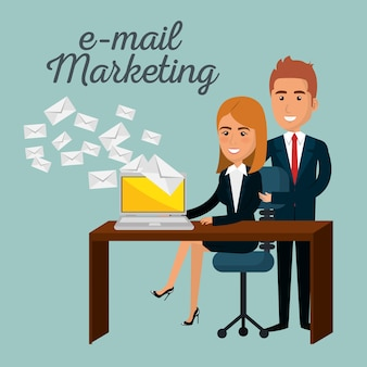 Uomini d'affari in ufficio con icone di marketing e-mail