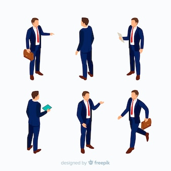Uomini d'affari isometrici in tuta
