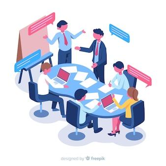 Uomini d'affari isometrici in una riunione